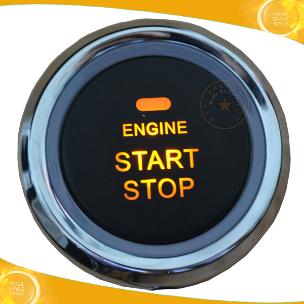 universal slim start sop button orange back light working with car ignition switch and smart car alarm