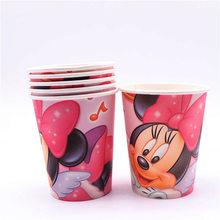 Minnie Mouse Conjuntos de Louças Tema da festa de Aniversário Decoração Para Meninas Bolo Topper Descartáveis Fontes Do Partido Decoração de Casa(China)