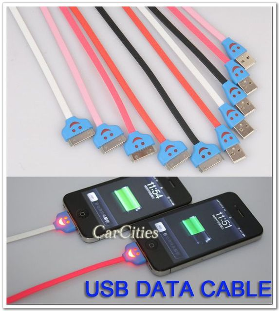 High quality 1M USB data cable with smile light colorful NEW for ipad/ iphone4/4s/3g/3gs/ipod ,with light free shipping
