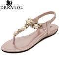 Women Sandals 2016 Summer Style Rhinestone Flat Heel flip flops Fashion Soft Slippers Sandalias Free Shipping
