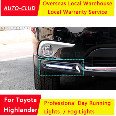 AUTO-CLUD for Car Styling Toyota Highlander LED DRL parking For Toyota Highlander led fog lamp daytime running light cover light(China (Mainland))