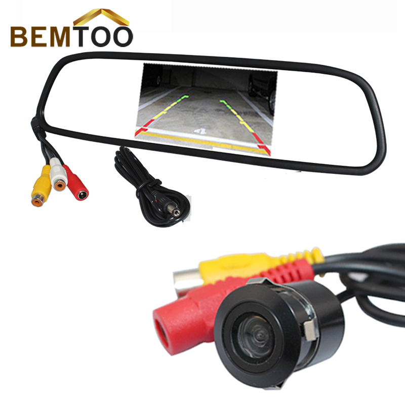 Free Shipping , Waterproof Night Vision Car Rear View Camera With 4.3 inch TFT Color LCD For Car Mirror Monitor(China (Mainland))