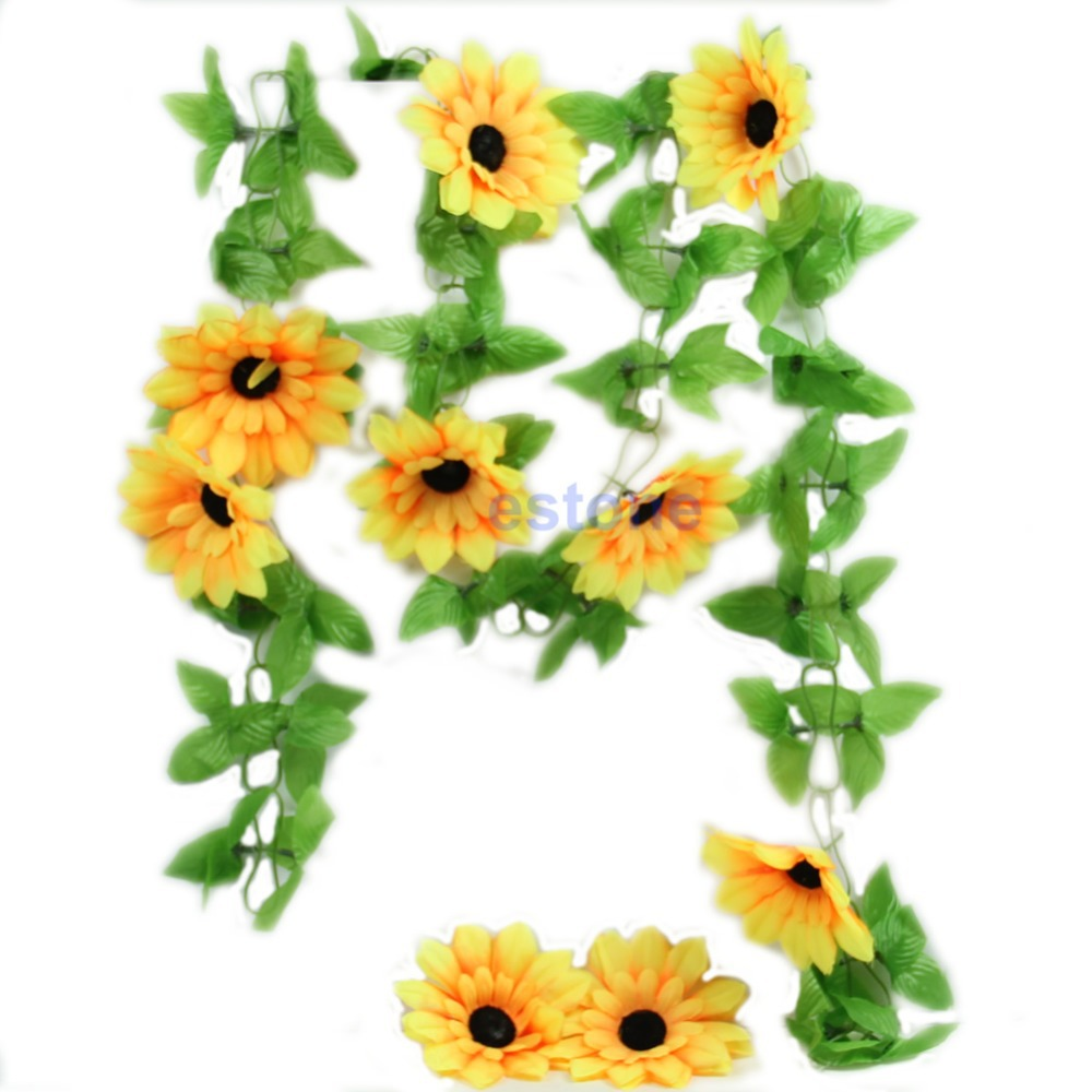 3Pcs/Lot Artificial Sunflower Garland Flower Vine for DIY Home Wedding Floral Decorative Flowers New Free Shipping(China (Mainland))