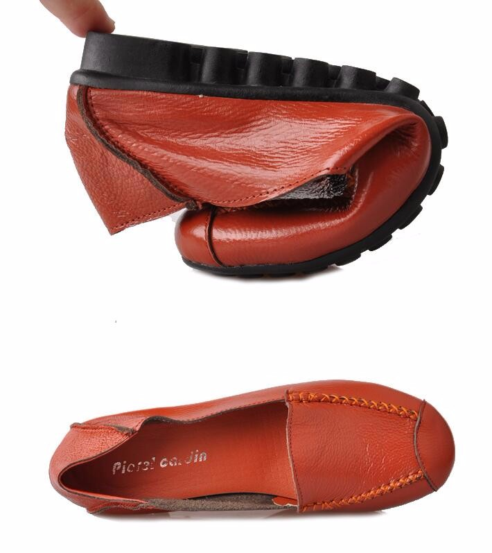 Flat Loafers Women Genuine Leather Mother Shoes Big Size(35~43) New 2016 Moccasins Women's Soft Leisure Female Driving Shoe