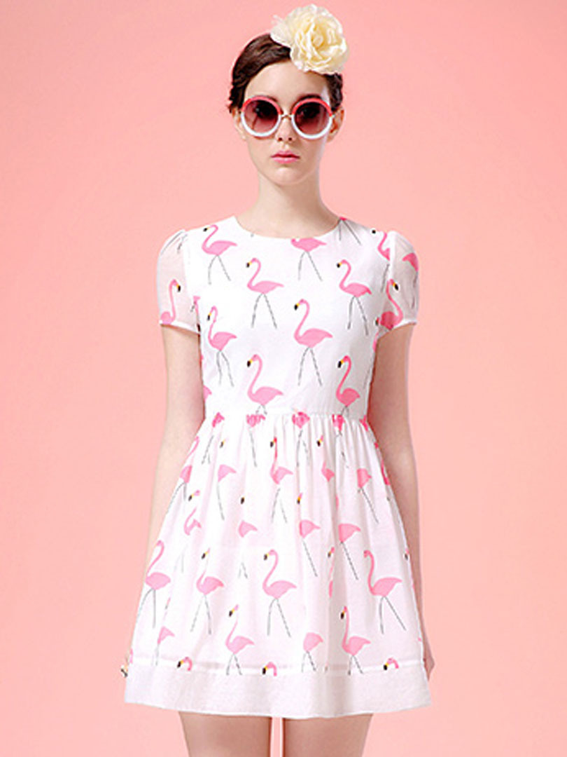 2015 Women Skater Dress White Swan Prints Casual High Waist Cute A Line Mini Skater Dress Vestods Summer Style(China (Mainland))