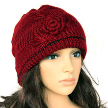 Winter cap flower handmade knitted hat ladies hats for church women s the elderly double layer