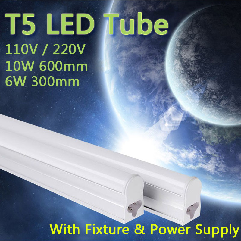 PVC Plastic 10W 6W LED Tube T5 Light 110V 220V 240V 55cm 30cm led T5 lamp led wall lamp Warm Cold White led fluorescent T5 neon(China (Mainland))
