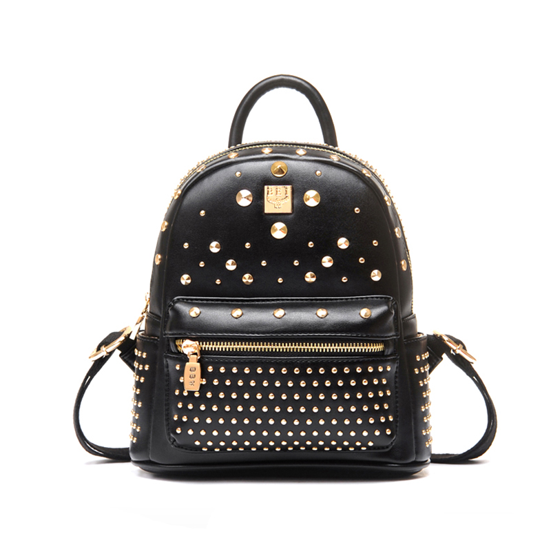 2016 Fashion Unique Woman Backpack Rivet Decorated Tasi Cashmere Inside Backpack Cell Phone Pocket Zipper mochila Hot Sale(China (Mainland))