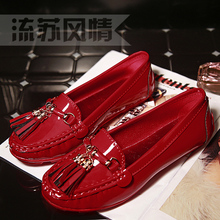 Moccasins 2016 female spring and autumn flat slip-resistant tassel single shoes round toe shoes shallow mouth women's shoes