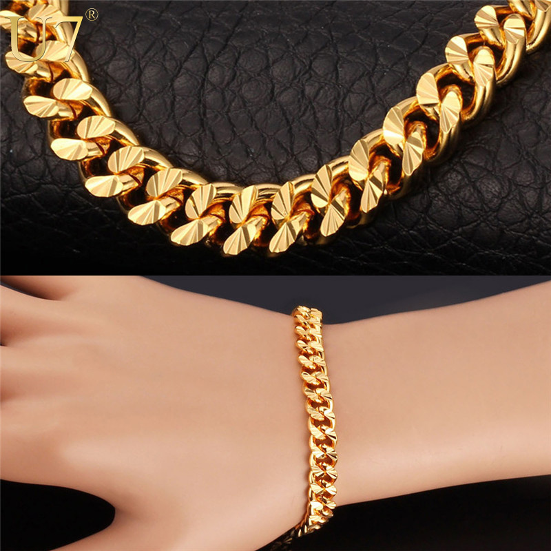 U7 Stamp '18K' Real Gold Plated Bracelet Items Trendy 4 Color 21 CM 7 MM Wide Unique Cuban Link Chain Bracelet Men Jewelry H608(China (Mainland))