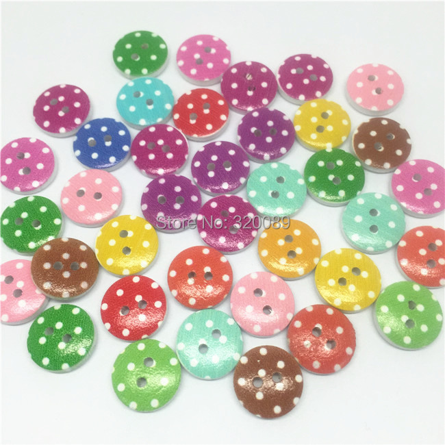 1000pcs 13mm Round Mix Dots Patterns Wooden Buttons 2 Holes Spotted Button For Cardmaking Scrapbooking Knopf Boutons(China (Mainland))