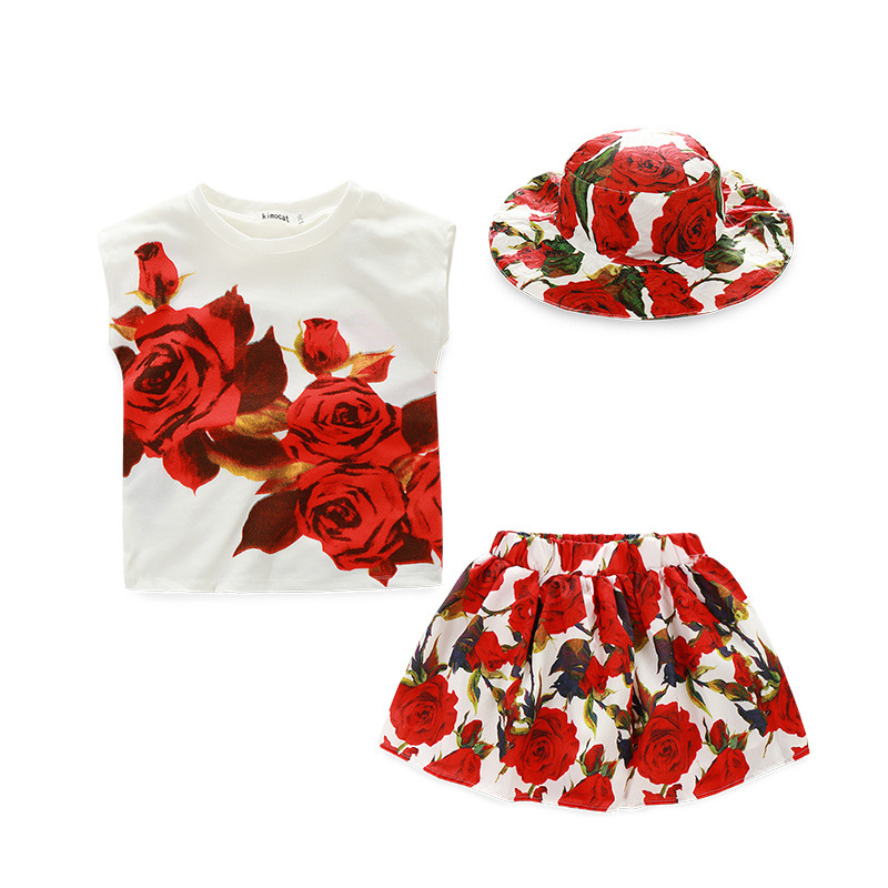 2016 kids red rose clothes baby girls hat tshirts skirt clothing children 3 pieces sets short sleeve summer suits 100-150cm(China (Mainland))