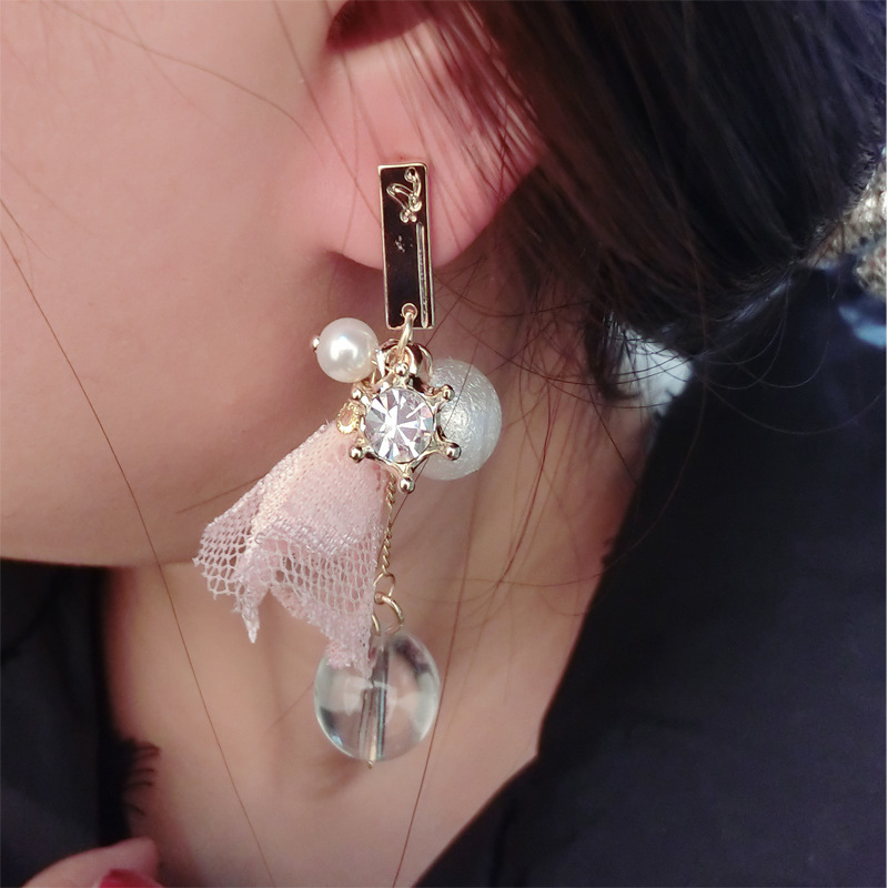 2015 New Fashion Jewelry Black/Pink Lace Pearl Long Earrings Gold Plated Dangle Women Christmas Gift - Ailsa store