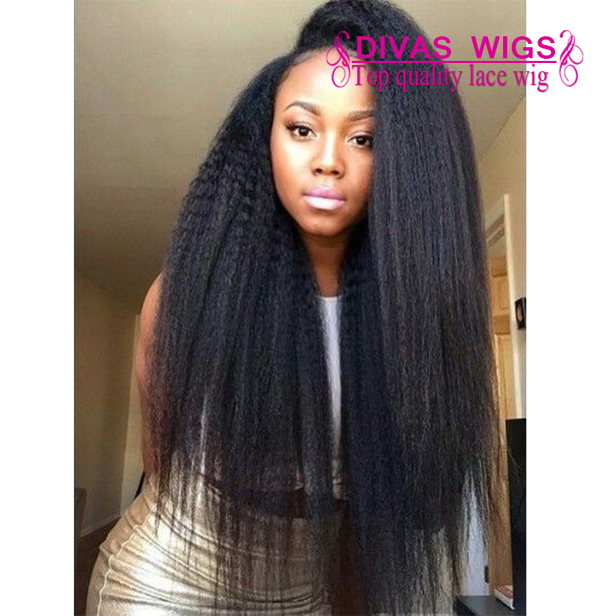 Top Quality Yaki Straight Wigs Black Synthetic Lace Front  Wigs Glueless Wigs Heat Resistant Hair Wigs Fast Shipping
