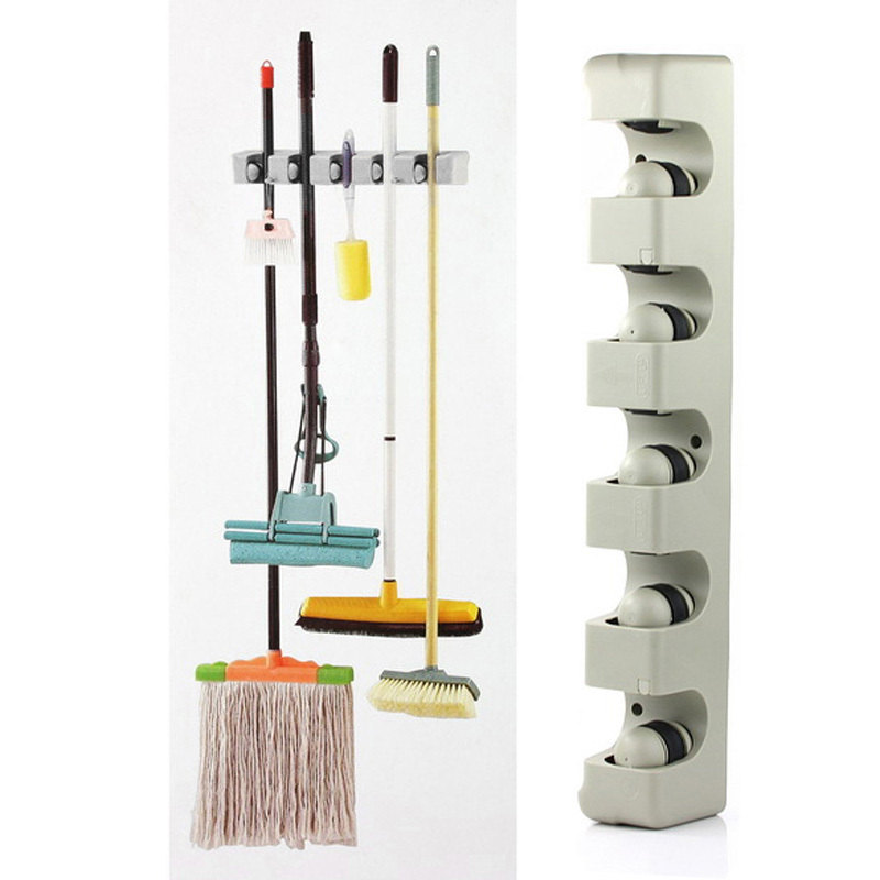Kitchen Organizer Wall Shelf Mounted Hanger 5 Position Kitchen Storage Mop Brush Broom Organizer Holder Tool Free Shipping(China (Mainland))
