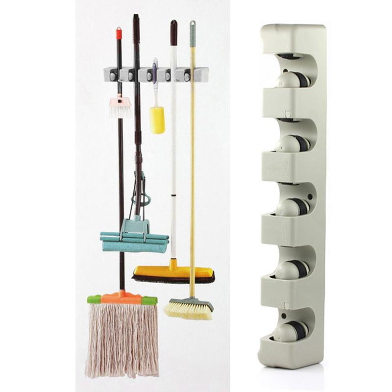 Kitchen Organizer Wall Shelf Mounted Hanger 5 Position Kitchen Storage Mop Brush Broom Organizer Holder Tool Free Shipping(China (Mainland))