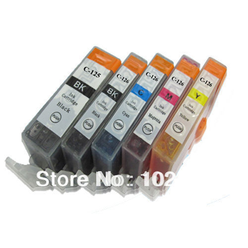 1 Set Cheap ink catridge for Canon PGI-125 BK CLI-126 BK C/M/Y compatible for canon Pixma MG5210 IP4810 IX6510 printer(China (Mainland))