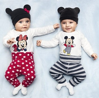 New 2014 baby set cotton children baby boys girls clothes(Long-sleeved Romper+hat+pants)A116