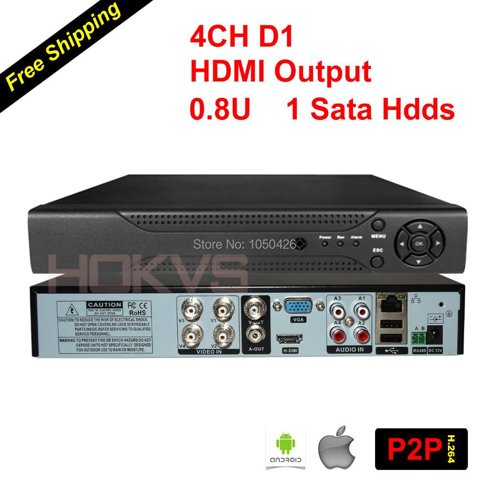 P2P Cloud 0.8U 4CH Realtime D1 DVR Digital Video Recorder with 1 Sata Port & HDMI Video Output for cctv security analog cameras(China (Mainland))