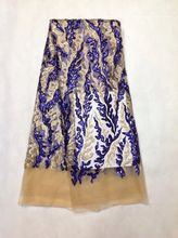 Buy African Lace Fabric French Sequins Net Lace High Royal blue Sequins Lace Fabric 2017 French Sequins Fabric Dress ZH915 for $57.99 in AliExpress store