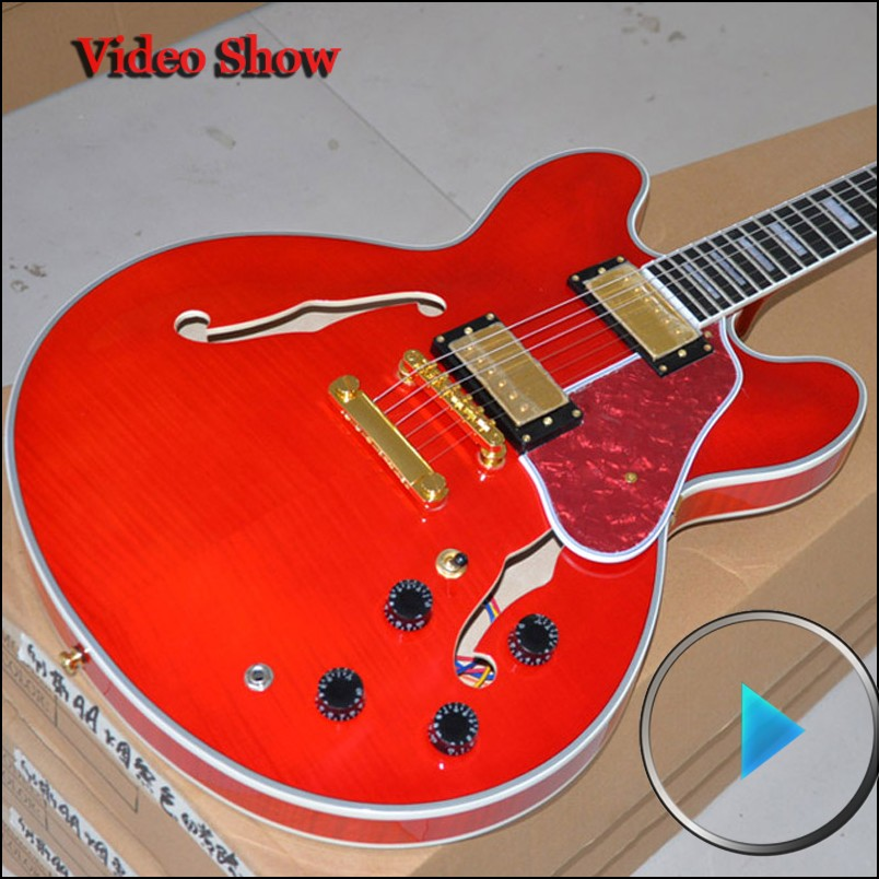 Custom Shop es 355 Cherry VOS jazz guitar musical instruments Hollow body guitarra electrica free shipping(China (Mainland))