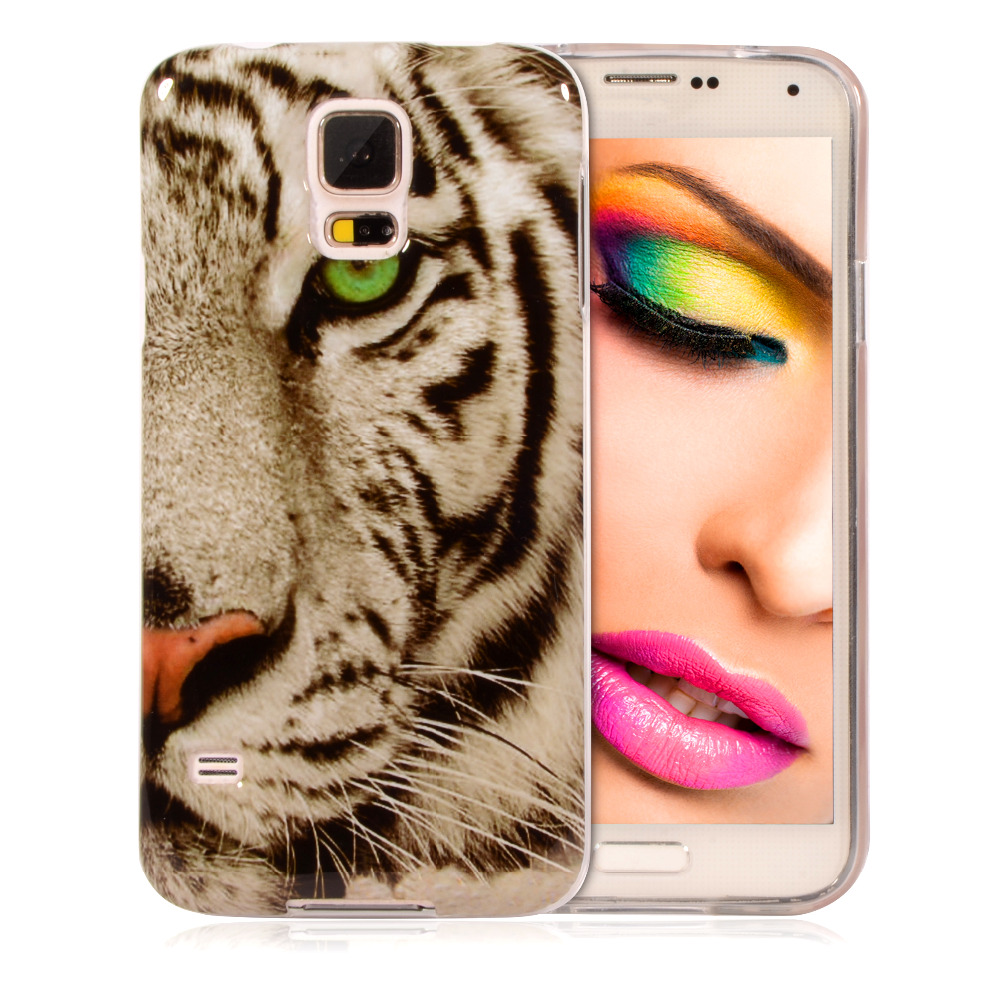 Cute Printed TPU Silicone Soft Case Back Cover Samsung Galaxy S5 SV I9600 S 5 5.1 inch Tiger Cartoon Plastic Mobile Phone Bag - YTD TECHNOLOGY CO., LTD. store