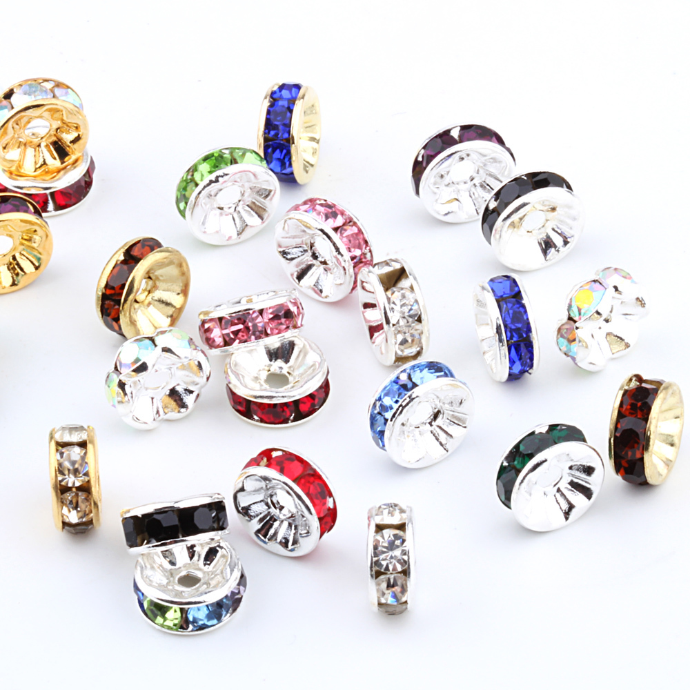 Free Shipping 100pcs/Lot 6MM Mixed Crystal Spacer Metal Silver Plated Rondelle Rhinestone Loose Beads For DIY Jewelry Making(China (Mainland))