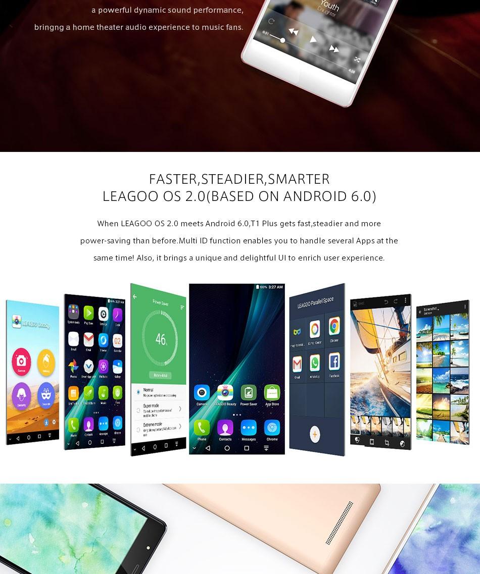Original Leagoo T1 Plus 4G 5.5″ Smartphone Android 6.0 MTK6737 1.3GHz Quad Core 3GB 16GB Dual SIM GPS Bluetooth 4.1 Mobile Phone