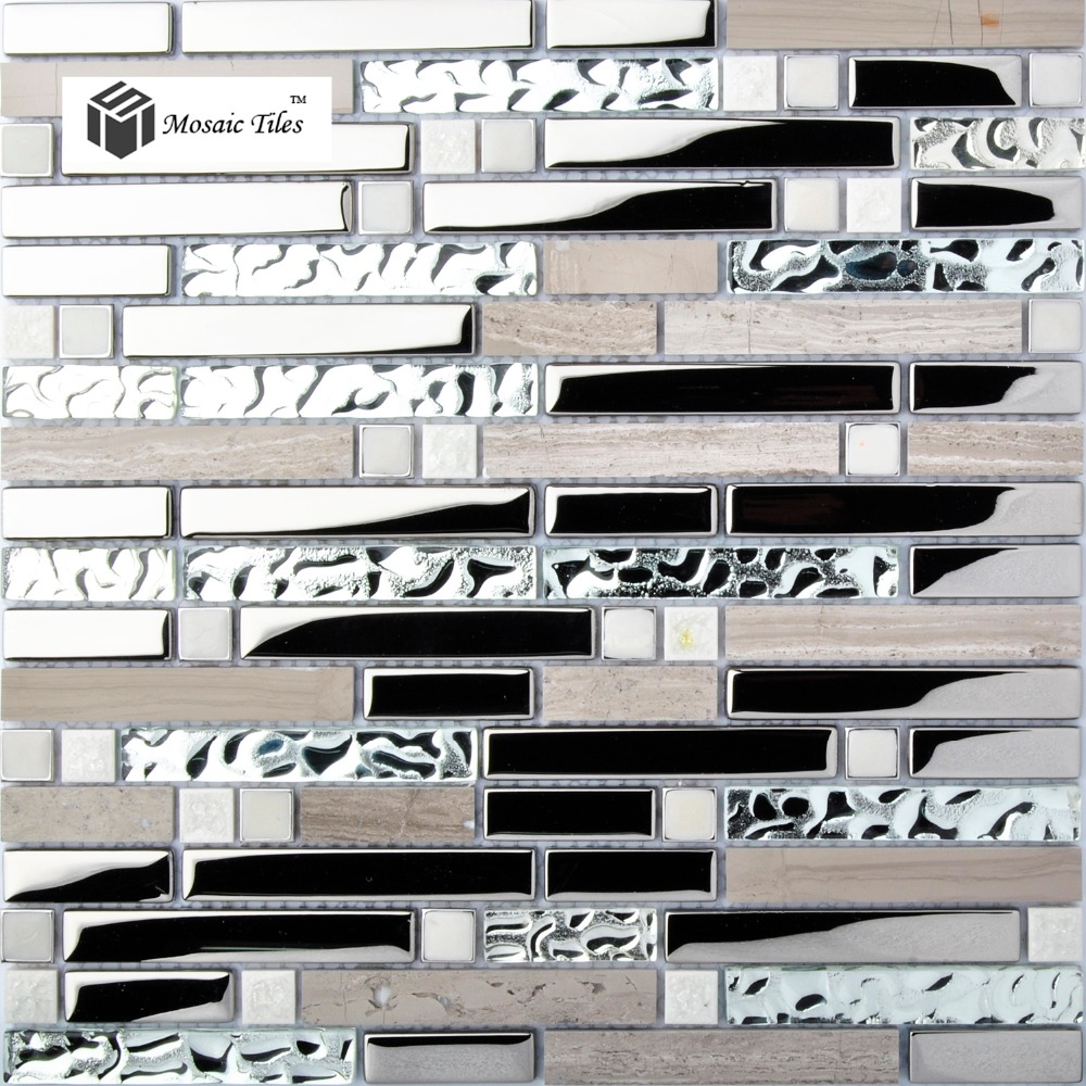 Kitchen Backsplash Tile Gray Marble Silver Glass Mosaic Wholesale 1 Box Including 11 Pcs 12 39 39 X12