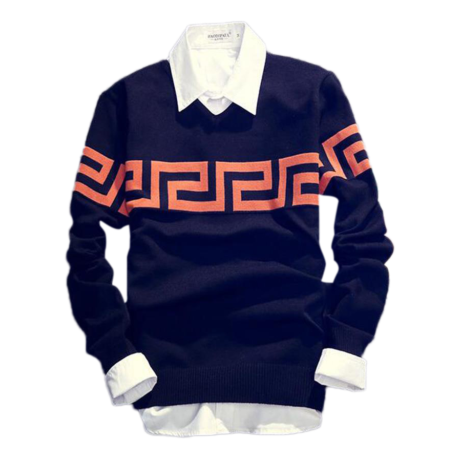 Top quality Autumn Slim V-Neck Sweater Men Stylish Trendy Men Printing Pullover Men Sweater(China (Mainland))