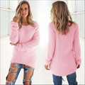 2016 New fashion High QualityWomens Casual Long Sleeve Jumper Sweaters Coat Blouse