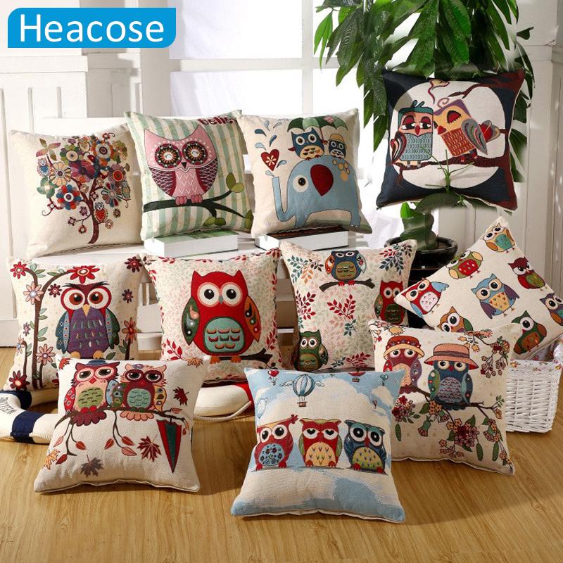 45*45 CM Coruja Almofada Coussin Linho Algodão Noite Dos Desenhos Animados Corujas almofadas decorativas Cojines almofadas almofada decoração da sua casa(China (Mainland))