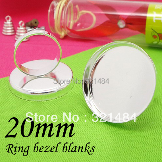 Silver plated w/ 20mm caps adjustable bezel ring blanks, ring base(China (Mainland))