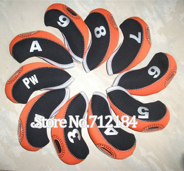 """New Two-tone Neoprene irons headcover orange""""or""""Green""""or""""White 20sets (10pcs/set) mixed color golf head cover Free Shipping(China (Mainland))"""
