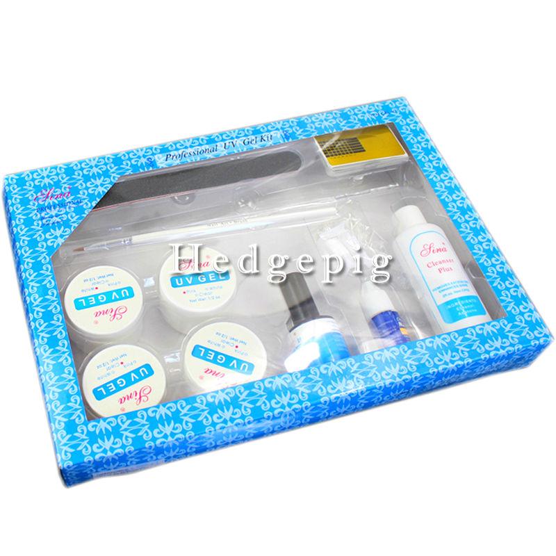 Professional Nail Art UV Gel Kit/Set Top Coat Tips Brush Pen Glue Buffer Block Cleanser KITS Super Nail Art UV Gel Set(China (Mainland))