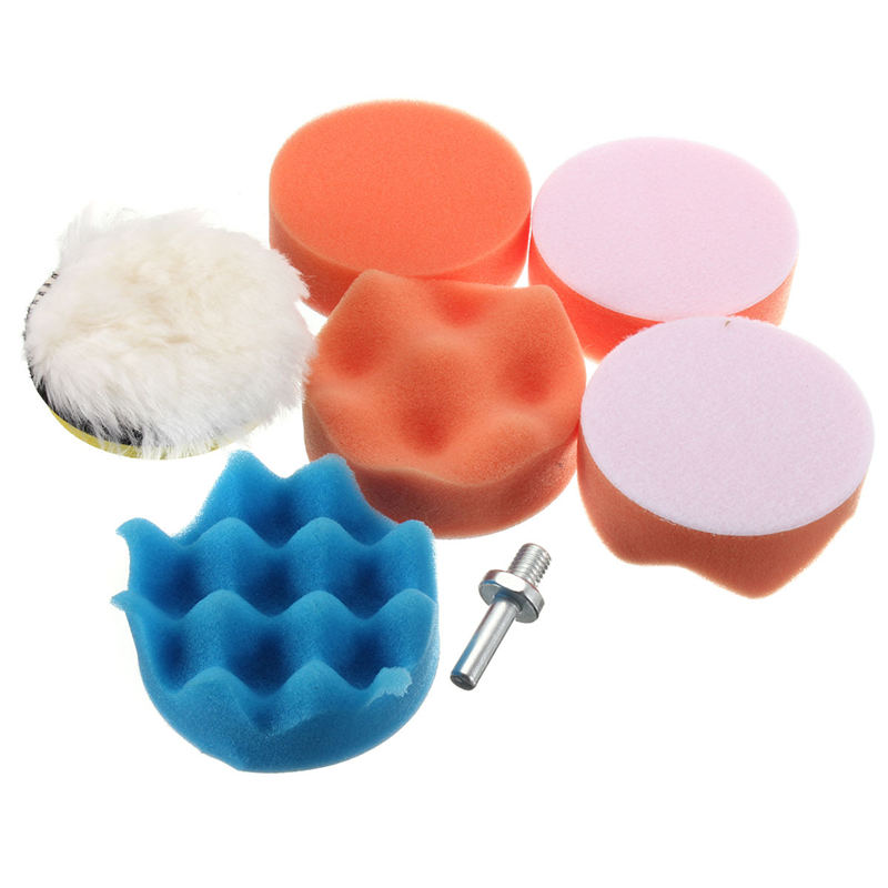 7 Pcs 3 Inch Buffing Pad Auto Car Polishing Wheel Kit Buffer + Drill Adapter M14 New Polisher PADS 3inch(China (Mainland))