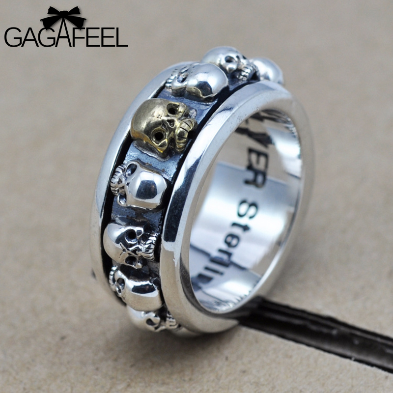 2016 new fashion 100% real 925 sterling silver rings men hiphop & rock punk jewelry skeleton skull gifts HYR08 - Gagafeel Jewelry Factory Co., Ltd store