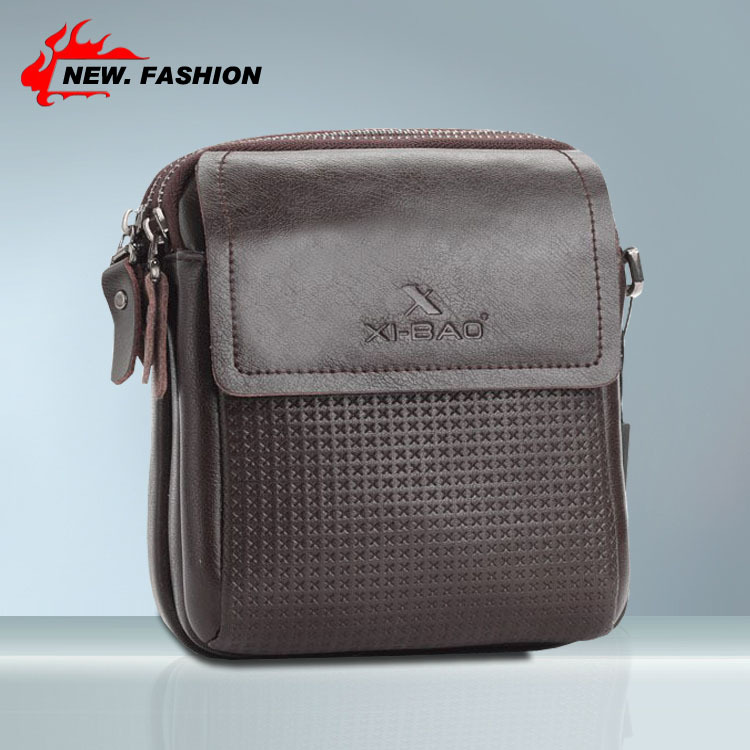 Hot Men's Mini Plaid 2015 New Leather Men Messenger Bags Fashion Casual Business Shoulder Handbags for man Free Shipping Brown(China (Mainland))