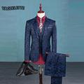 Blazer Pants Vest Fashion Men s Suit Shine Patterns Luxury Casual Men Stage Clothing Vintage