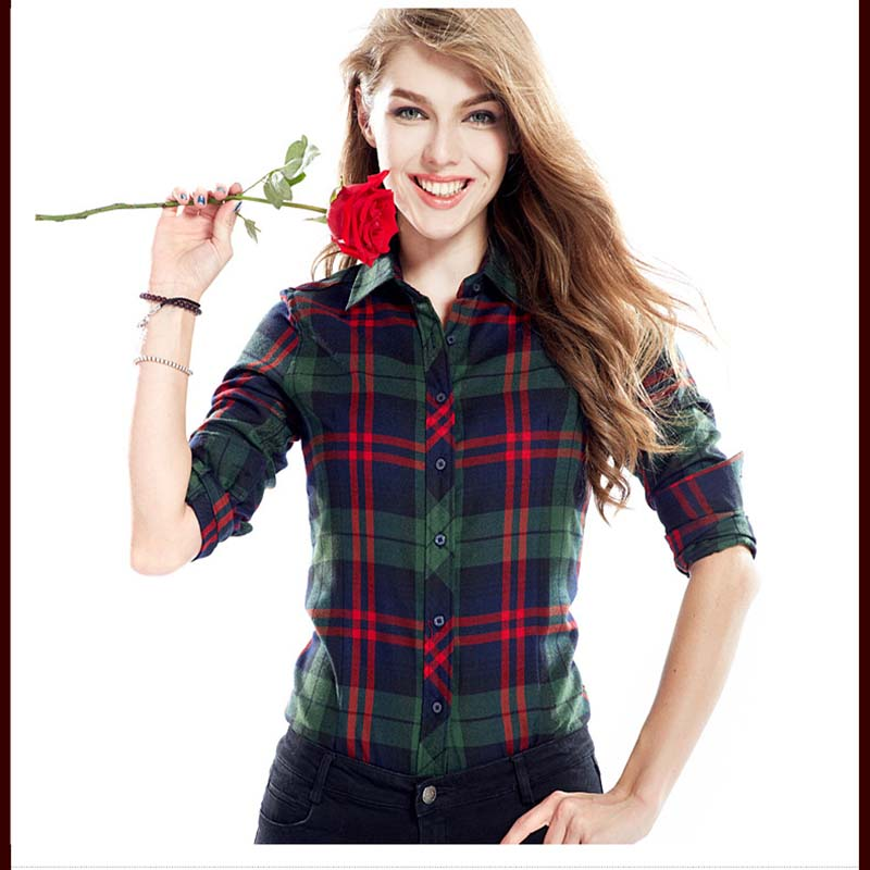 2012 New Fashion Women Blouses Plaid Shirts Women Big Size Clothes Lady Tops Casual Clothes For Women Casual Long Sleeve Shirts(China (Mainland))
