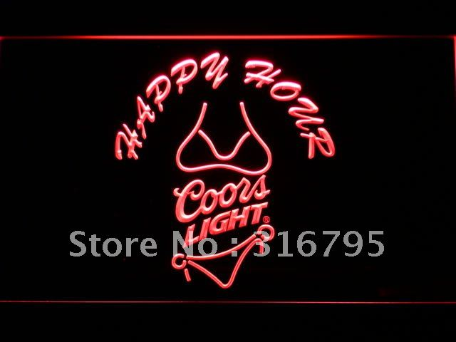 626-r Coors Light Bikini Happy Hour Beer LED Neon Sign Wholesale Dropshipping(China (Mainland))