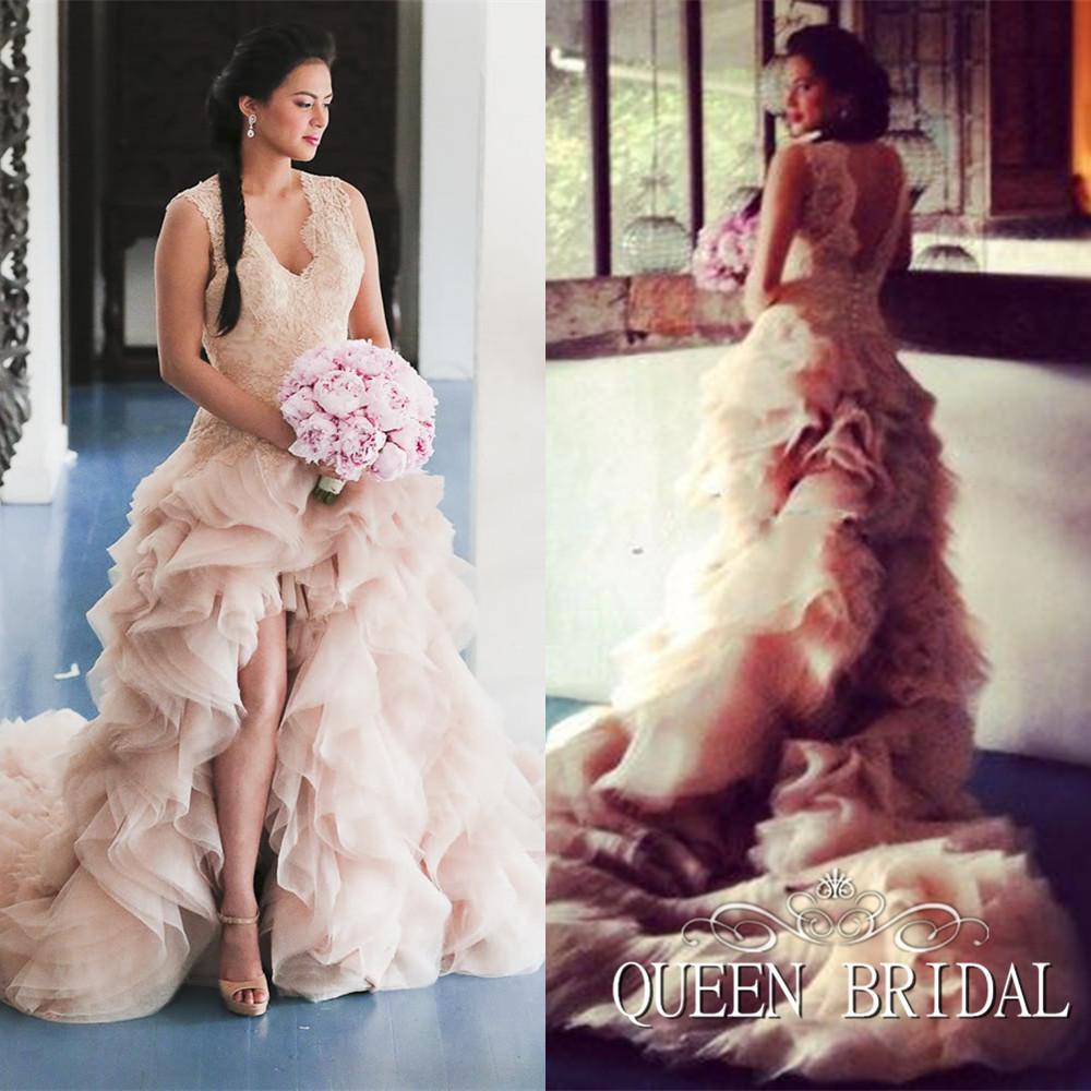 Pink wedding dress front short long back organza ruffles tail bride dresses romantic wedding gowns P6(China (Mainland))