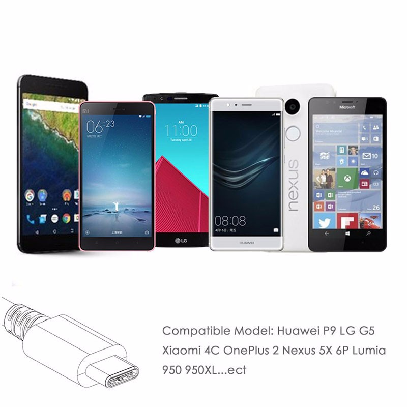 USB Type C Cable Type-C Data Sync Charger Cable for Nexus 5X 6P OnePlus 2 3 Huawei P9 Xiaomi 4C MX5 Pro LG G5 Note 7 Lumia 950XL