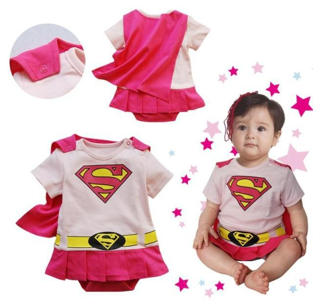 Free Ship New Baby Boy Girl Super Girl Superman Romper with Dress Smock Animal Jumpsuits Infant Wears(China (Mainland))