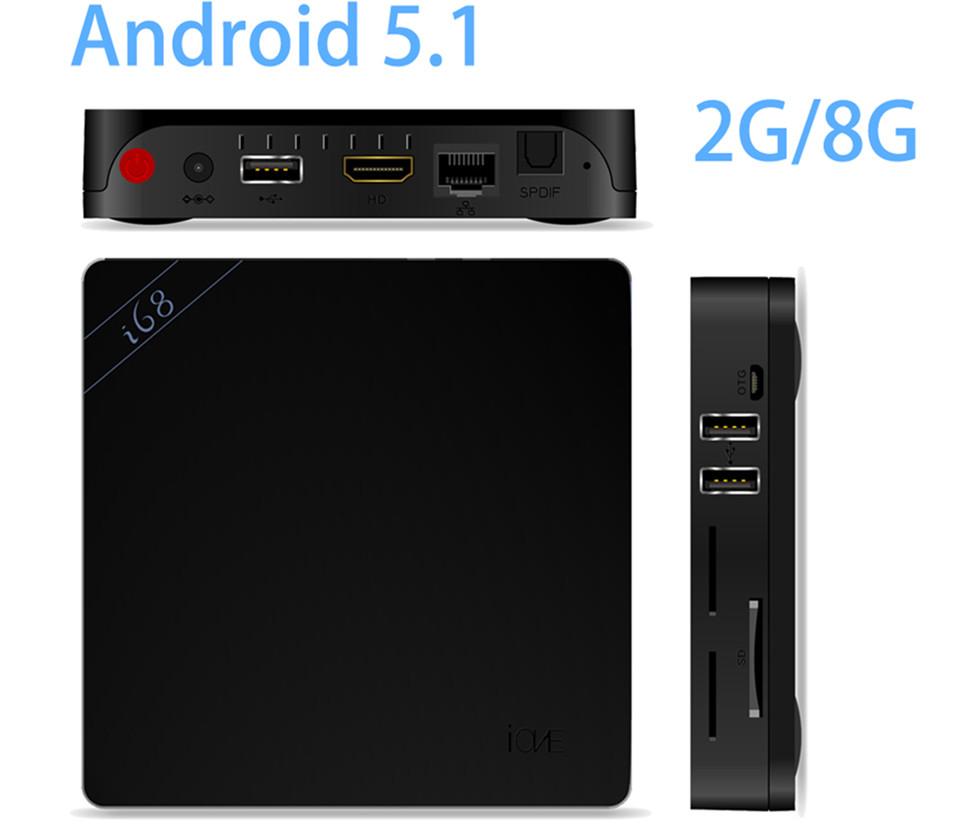 2015 New I68 Android 5.1 2G/8G KODI Full Loaded RK3368 64bits Octa core Cortex i68 media player, i68 2G+8G tv box free shipping(China (Mainland))