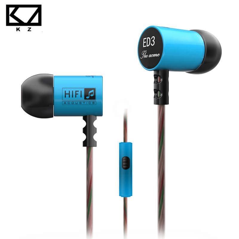 KZ ED3c Vigorous Bass Metal Earphone In Ear Stereo HiFi Music Earbuds With Microphone(China (Mainland))