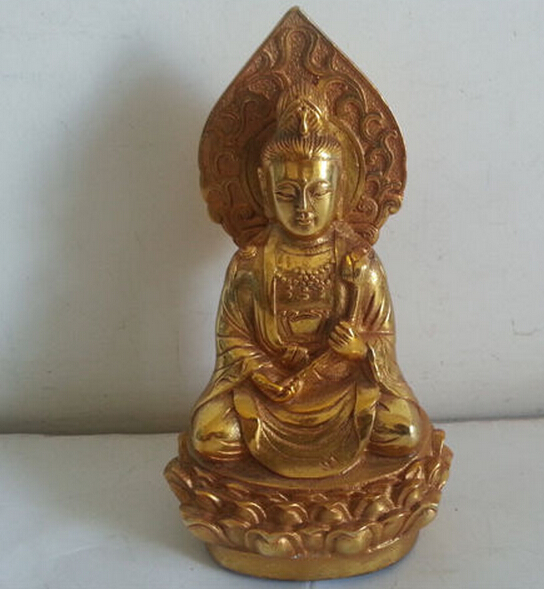SCY 1109+++Elaborate old Chinese qing Dynasty brass Guan Yin Sitting on Lotus Buddha statue(China (Mainland))