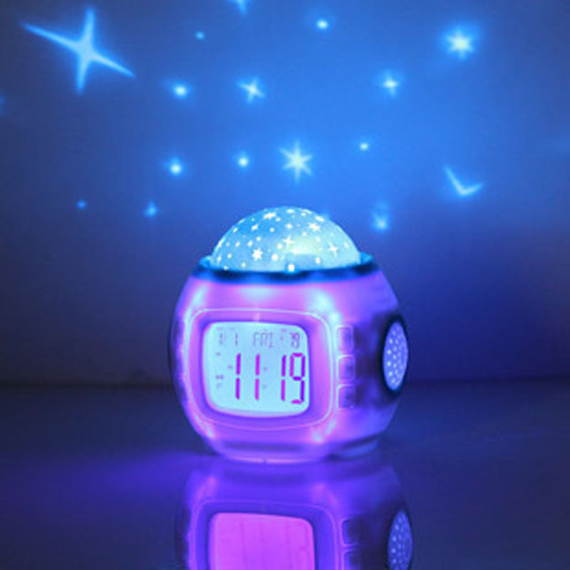 Drop Shipping Best Gift Mini Music Starry Alarm Projection Clock Star Sky Calendar Thermometer with Retail Package(China (Mainland))