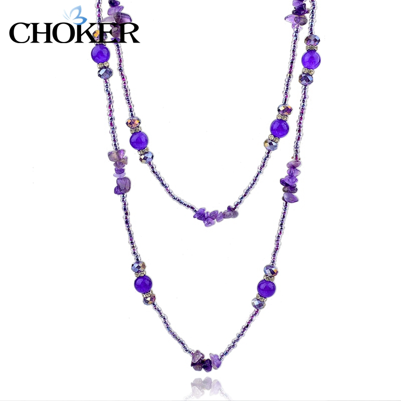 Amethyst Long Statement Necklaces for Women Vintage Purple Natural Stone Beads Maxi Necklace Ethnic Jewelry Gold