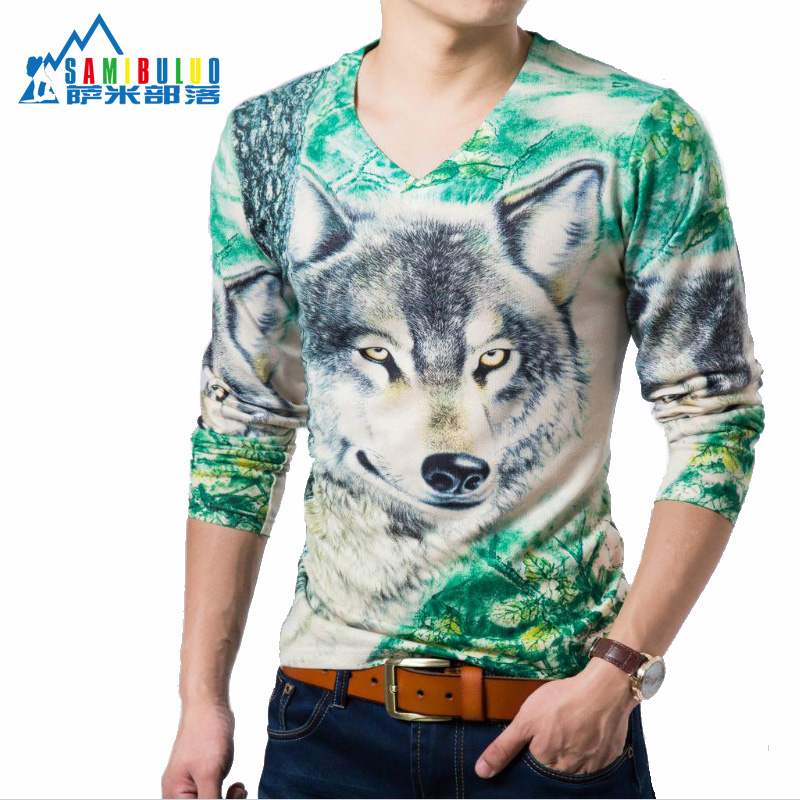 Men's winter thickening and velvet fashion, cultivate one's morality men long sleeve T-shirt is a 3d printing code(China (Mainland))